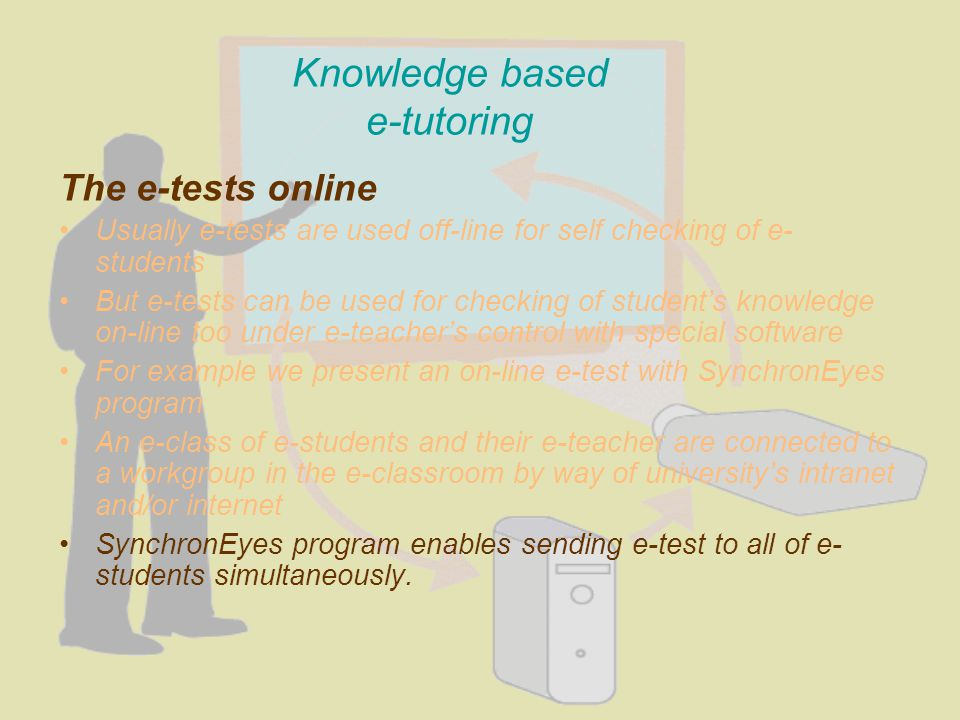 Knowledge based e-tutoring The e-tests online Usually e-tests are used off-line for self checking of e- students But e-tests can be used for checking of students knowledge on-line too under e-teachers control with special software For example we present an on-line e-test with SynchronEyes program An e-class of e-students and their e-teacher are connected to a workgroup in the e-classroom by way of universitys intranet and/or internet SynchronEyes program enables sending e-test to all of e- students simultaneously.