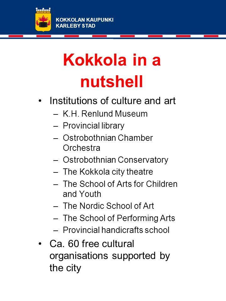 KOKKOLAN KAUPUNKI KARLEBY STAD Kokkola in a nutshell Institutions of culture and art –K.H.