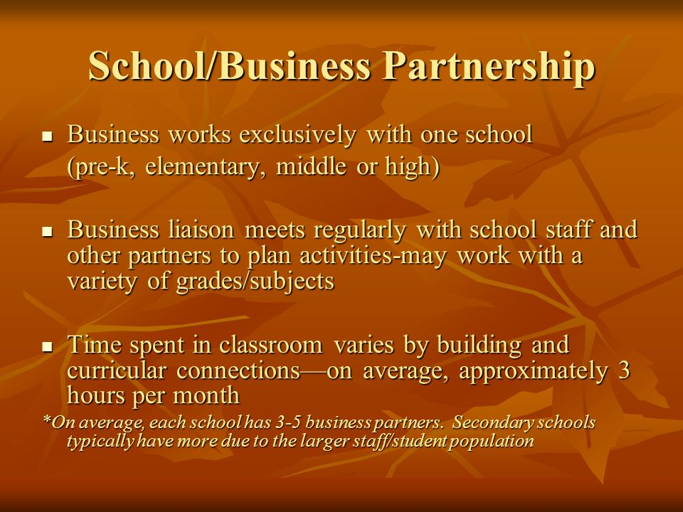 School/Business Partnership Business works exclusively with one school Business works exclusively with one school (pre-k, elementary, middle or high) Business liaison meets regularly with school staff and other partners to plan activities-may work with a variety of grades/subjects Business liaison meets regularly with school staff and other partners to plan activities-may work with a variety of grades/subjects Time spent in classroom varies by building and curricular connectionson average, approximately 3 hours per month Time spent in classroom varies by building and curricular connectionson average, approximately 3 hours per month *On average, each school has 3-5 business partners.