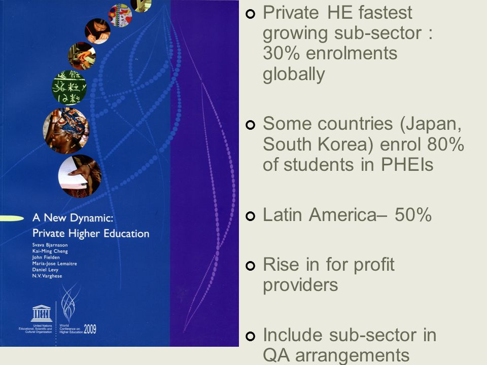 Private HE fastest growing sub-sector : 30% enrolments globally Some countries (Japan, South Korea) enrol 80% of students in PHEIs Latin America– 50% Rise in for profit providers Include sub-sector in QA arrangements