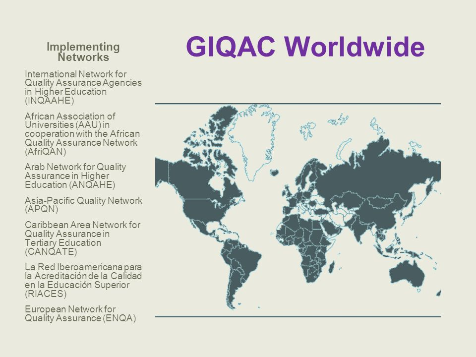 GIQAC Worldwide Implementing Networks International Network for Quality Assurance Agencies in Higher Education (INQAAHE) African Association of Univer