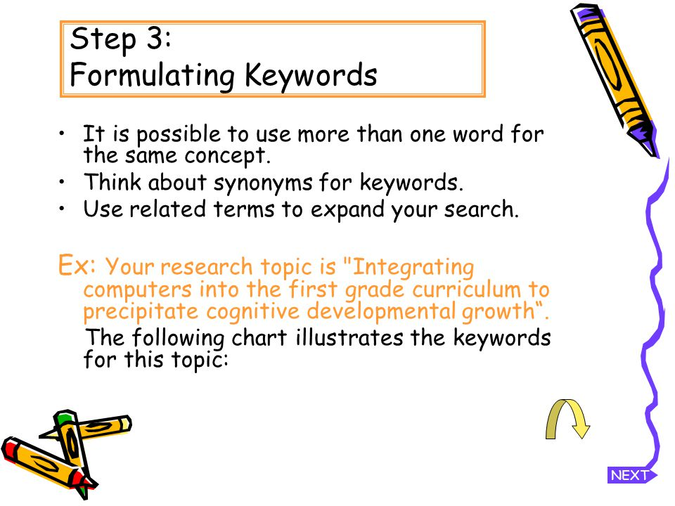 Step 3: Formulating Keywords It is possible to use more than one word for the same concept.