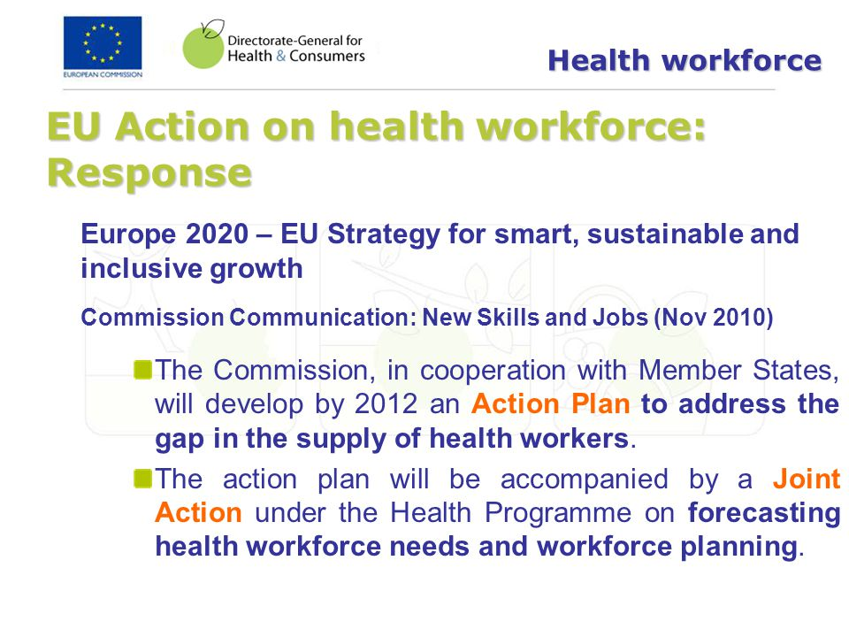EU Action on health workforce: Response Europe 2020 – EU Strategy for smart, sustainable and inclusive growth Commission Communication: New Skills and
