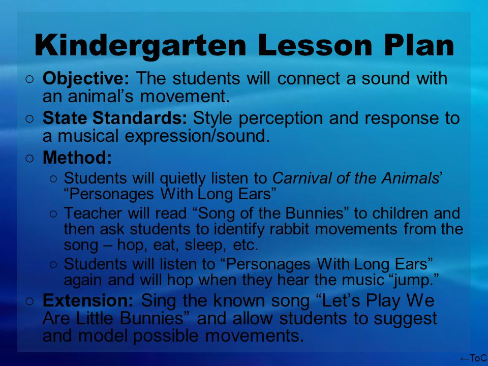ToC Kindergarten Lesson Plan Objective: The students will connect a sound with an animals movement. State Standards: Style perception and response to