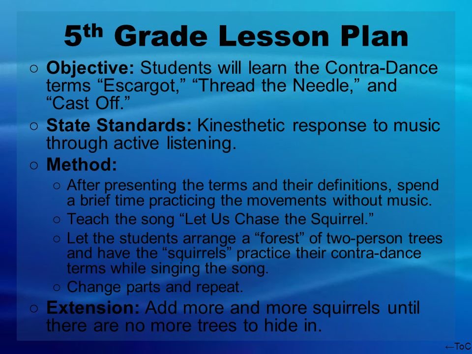 ToC 5 th Grade Lesson Plan Objective: Students will learn the Contra-Dance terms Escargot, Thread the Needle, and Cast Off. State Standards: Kinesthet