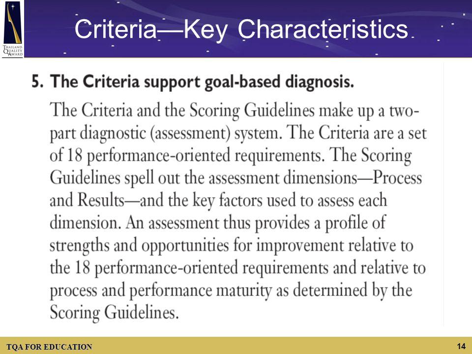 TQA FOR EDUCATION 14 CriteriaKey Characteristics