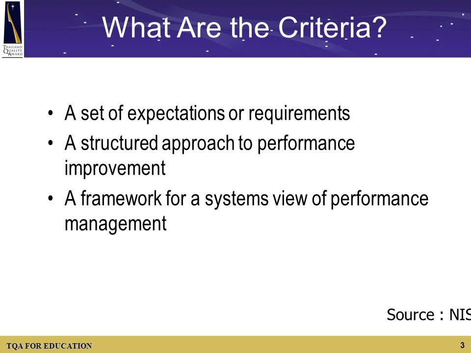 TQA FOR EDUCATION 3 What Are the Criteria? A set of expectations or requirements A structured approach to performance improvement A framework for a sy