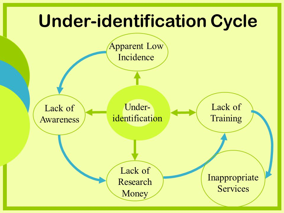 Under- identification Lack of Awareness Apparent Low Incidence Lack of Training Lack of Research Money Inappropriate Services Under-identification Cycle