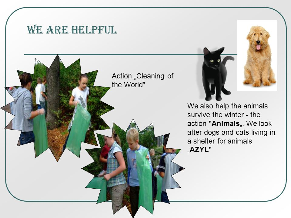 We are helpful Action Cleaning of the World We also help the animals survive the winter - the action Animals.
