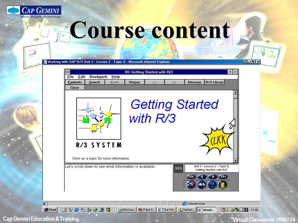 Virtual Classroom 1999 / 14 Cap Gemini Education & Training. Course content