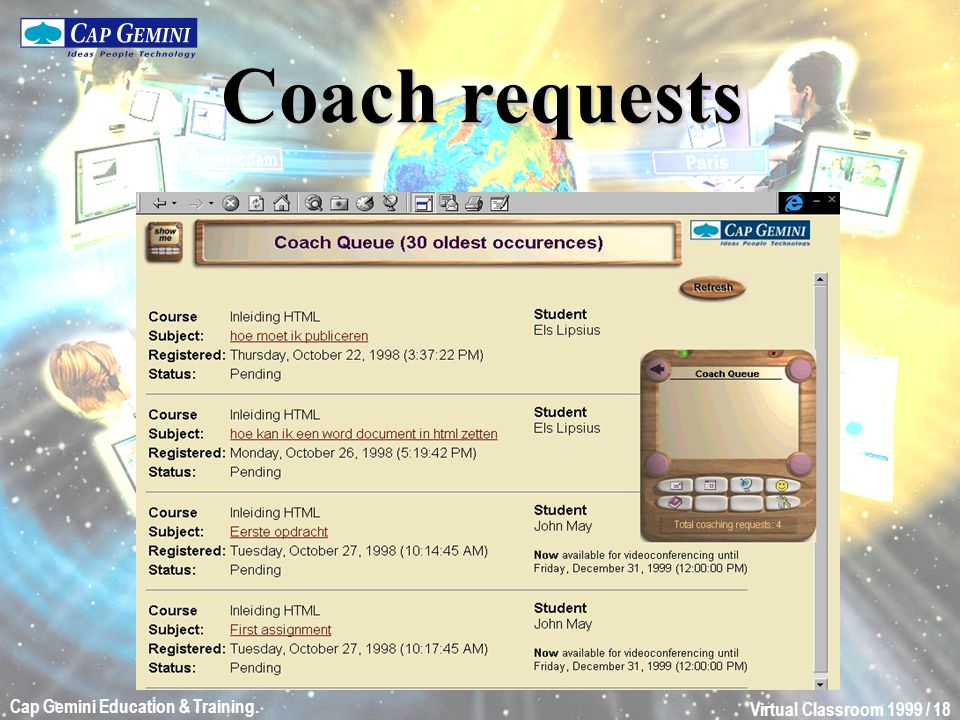 Virtual Classroom 1999 / 18 Cap Gemini Education & Training. Coach requests