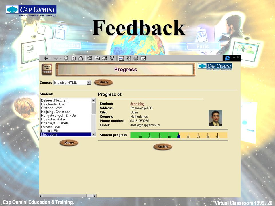 Virtual Classroom 1999 / 20 Cap Gemini Education & Training. Feedback