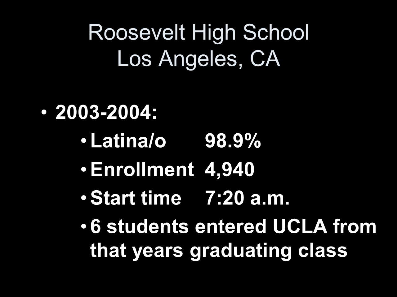 2003-2004: Latina/o 98.9% Enrollment 4,940 Start time 7:20 a.m.