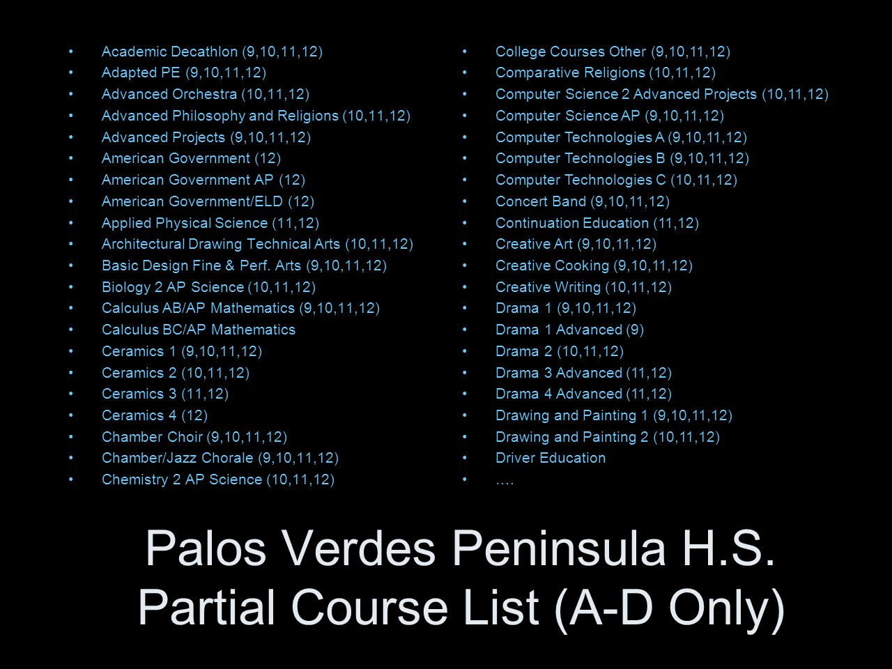 Palos Verdes Peninsula H.S. Partial Course List (A-D Only) Academic Decathlon (9,10,11,12) Adapted PE (9,10,11,12) Advanced Orchestra (10,11,12) Advan