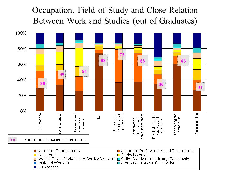 Occupation, Field of Study and Close Relation Between Work and Studies (out of Graduates)