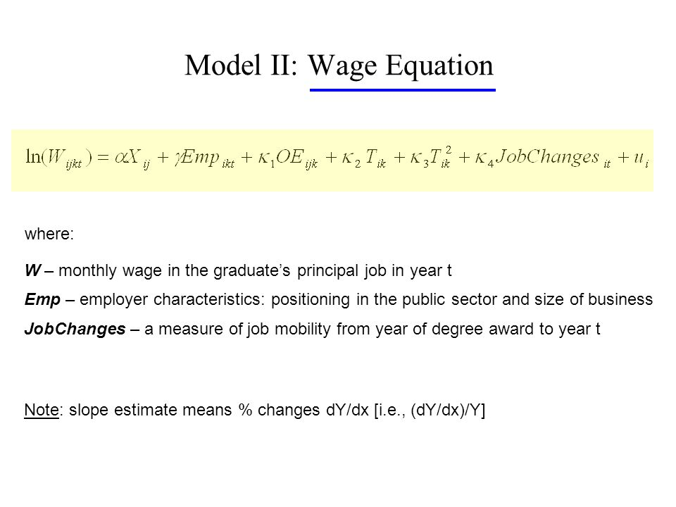 Model II: Wage Equation where: W – monthly wage in the graduates principal job in year t Emp – employer characteristics: positioning in the public sector and size of business JobChanges – a measure of job mobility from year of degree award to year t Note: slope estimate means % changes dY/dx [i.e., (dY/dx)/Y]