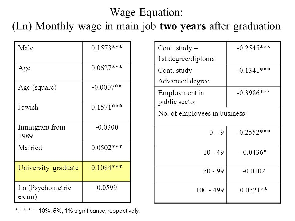 Wage Equation: (Ln) Monthly wage in main job two years after graduation 0.1573***Male ***0.0627Age -0.0007**Age (square) 0.1571***Jewish -0.0300Immigrant from 1989 0.0502***Married 0.1084***University graduate 0.0599Ln (Psychometric exam) -0.2545***Cont.