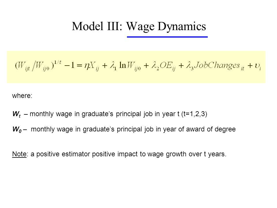 Model III: Wage Dynamics where: W t – monthly wage in graduates principal job in year t (t=1,2,3) W 0 – monthly wage in graduates principal job in year of award of degree Note: a positive estimator positive impact to wage growth over t years.