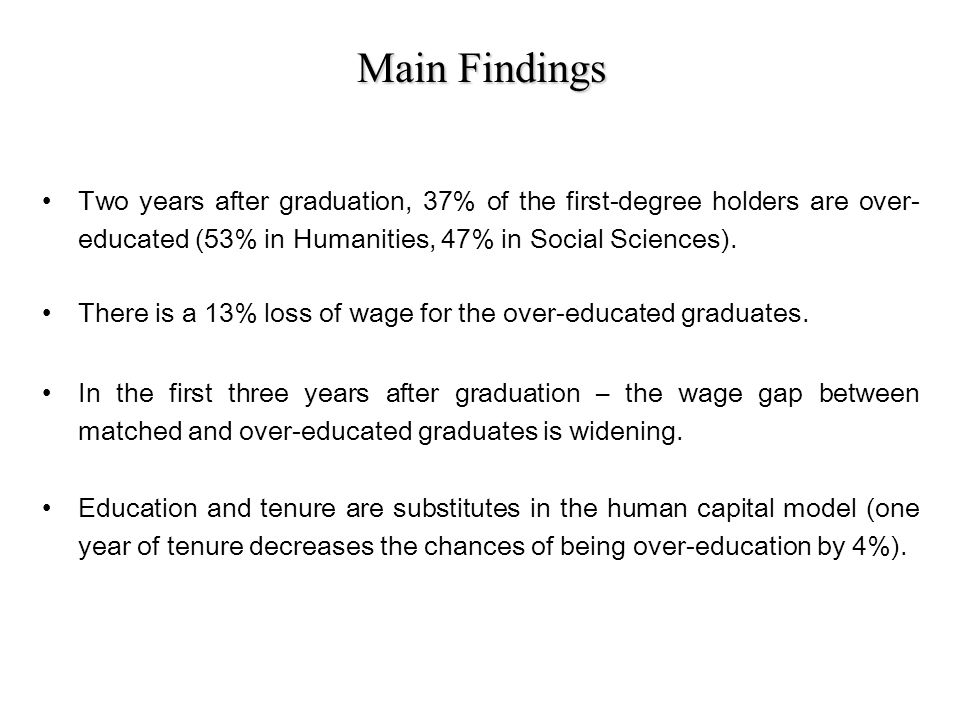 Main Findings Two years after graduation, 37% of the first-degree holders are over- educated (53% in Humanities, 47% in Social Sciences).