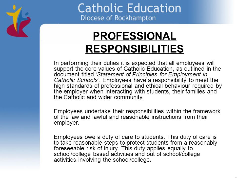 PROFESSIONAL RESPONSIBILITIES In performing their duties it is expected that all employees will support the core values of Catholic Education, as outlined in the document titled Statement of Principles for Employment in Catholic Schools.