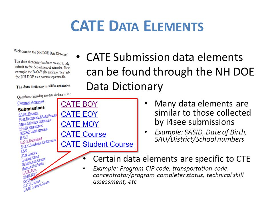 CATE Submission data elements can be found through the NH DOE Data Dictionary CATE D ATA E LEMENTS Many data elements are similar to those collected by i4see submissions Example: SASID, Date of Birth, SAU/District/School numbers Certain data elements are specific to CTE Example: Program CIP code, transportation code, concentrator/program completer status, technical skill assessment, etc