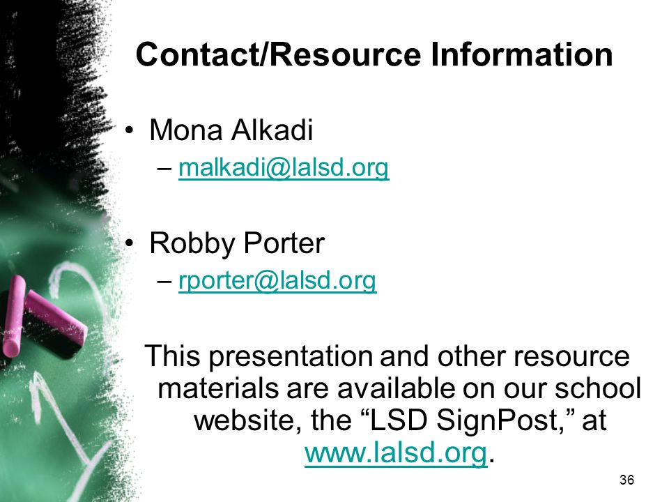 35 Helpful links: http://www.nad.org/ National Association of the Deaf http://www.deaflibrary.org/ Karen Nakumura Deaf Resource Library http://www.gallaudet.edu Gallaudet University – http://www.zak.co.il/deaf-info/old/methods.html explanations of communication systems used with deaf individuals http://www.signmedia.com/index.htm sign language and Deaf culture videotapes and texts http://handspeak.com/ http://www.masterstech-home.com/ASLDict.html American Sign Language Visual Dictionary and Info http://where.com/scott.net/asl/ Fingerspelling tutorial http://www.cfv.org/ Captioned Media Program http://www.deafresources.com/ jewelry, gifts and materials