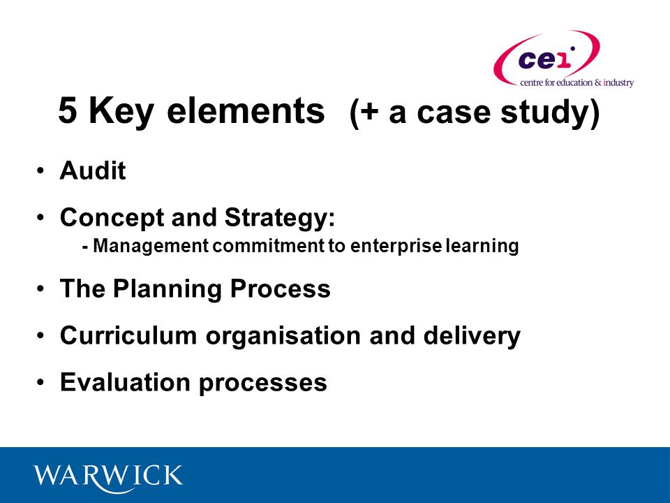 5 Key elements (+ a case study) Audit Concept and Strategy: - Management commitment to enterprise learning The Planning Process Curriculum organisation and delivery Evaluation processes