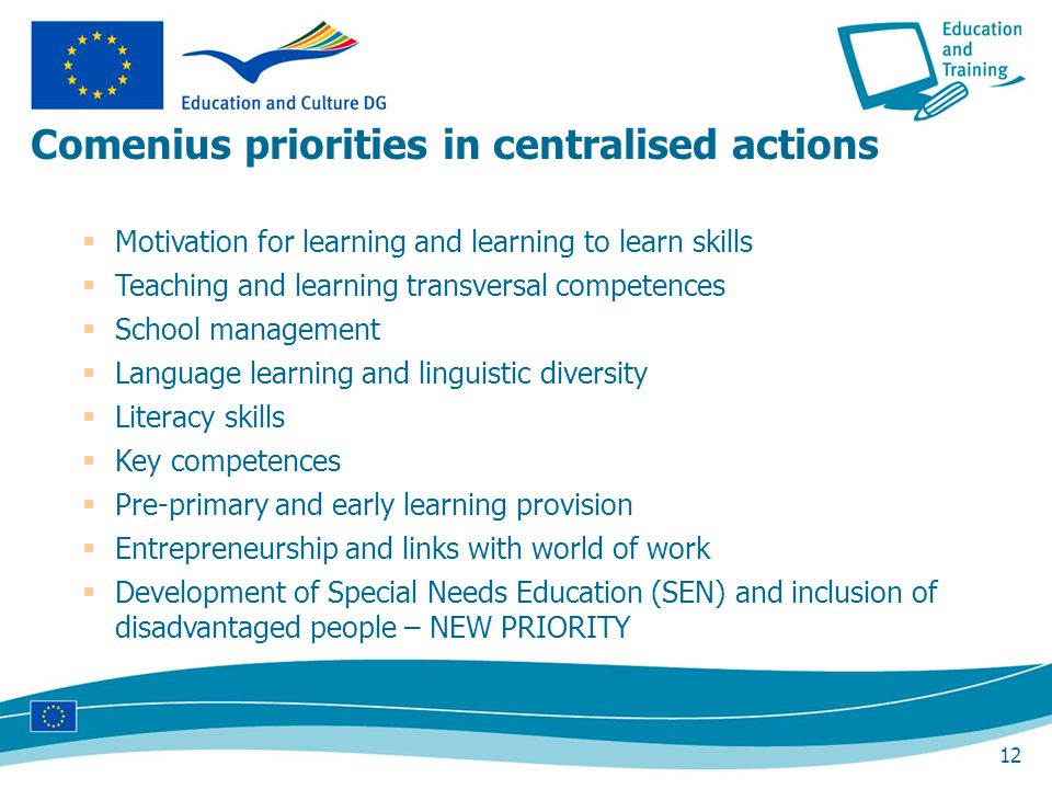 12 Motivation for learning and learning to learn skills Teaching and learning transversal competences School management Language learning and linguistic diversity Literacy skills Key competences Pre-primary and early learning provision Entrepreneurship and links with world of work Development of Special Needs Education (SEN) and inclusion of disadvantaged people – NEW PRIORITY Comenius priorities in centralised actions