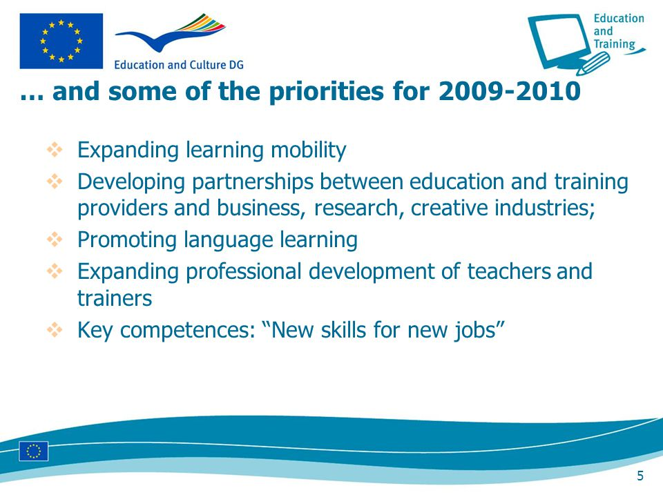 5 … and some of the priorities for 2009-2010 Expanding learning mobility Developing partnerships between education and training providers and business, research, creative industries; Promoting language learning Expanding professional development of teachers and trainers Key competences: New skills for new jobs
