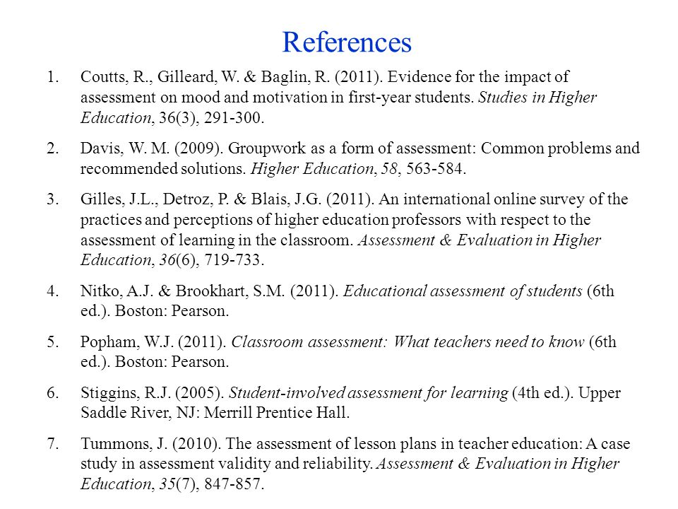 References 1.Coutts, R., Gilleard, W. & Baglin, R.