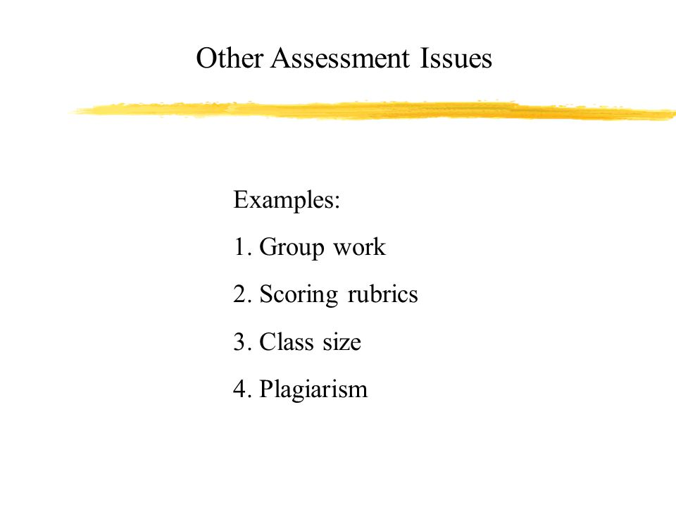 Other Assessment Issues Examples: 1. Group work 2. Scoring rubrics 3. Class size 4. Plagiarism
