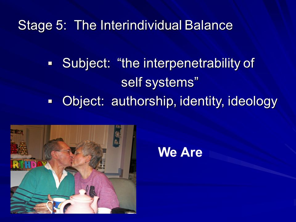 Stage 5: The Interindividual Balance Subject: the interpenetrability of Subject: the interpenetrability of self systems self systems Object: authorshi