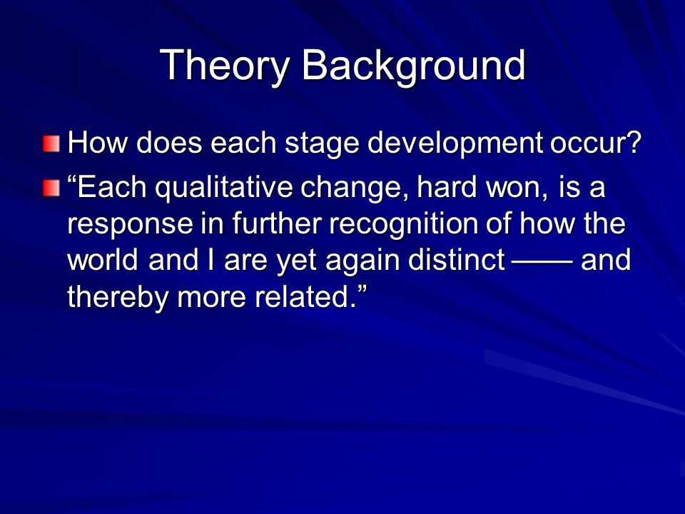 Theory Background How does each stage development occur? Each qualitative change, hard won, is a response in further recognition of how the world and