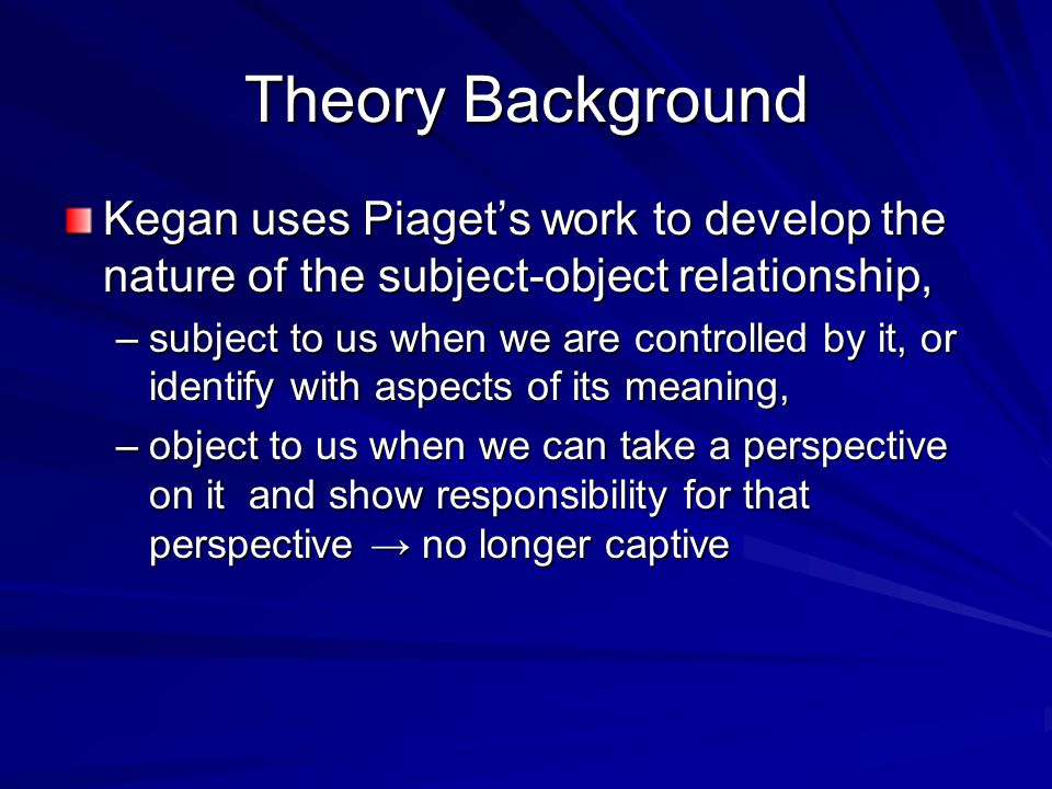 Theory Background Kegan uses Piagets work to develop the nature of the subject-object relationship, –subject to us when we are controlled by it, or id