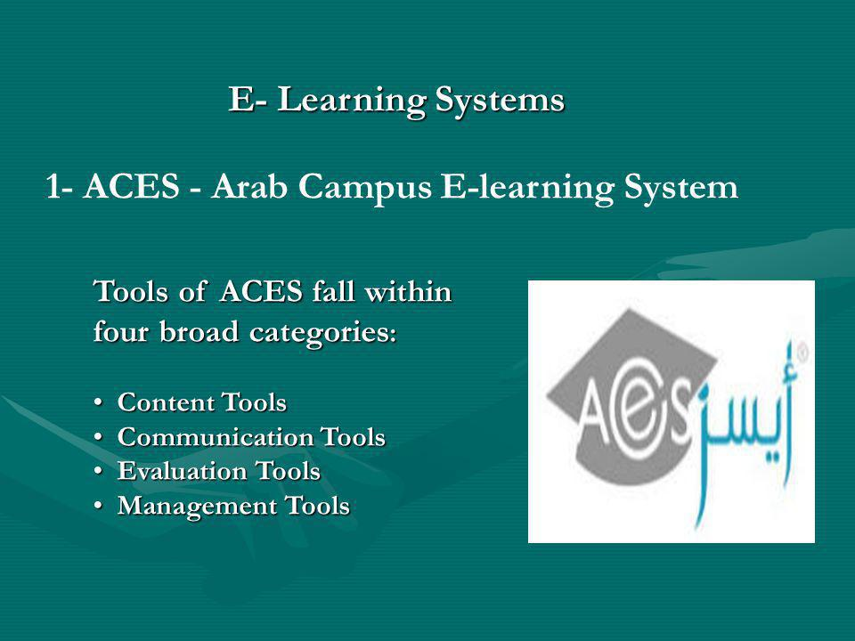 1- ACES - Arab Campus E-learning System Tools of ACES fall within four broad categories : Content Tools Content Tools Communication Tools Communication Tools Evaluation Tools Evaluation Tools Management Tools Management Tools E- Learning Systems