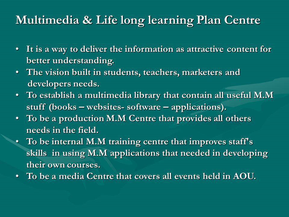 Multimedia & Life long learning Plan Centre It is a way to deliver the information as attractive content for better understanding.It is a way to deliver the information as attractive content for better understanding.