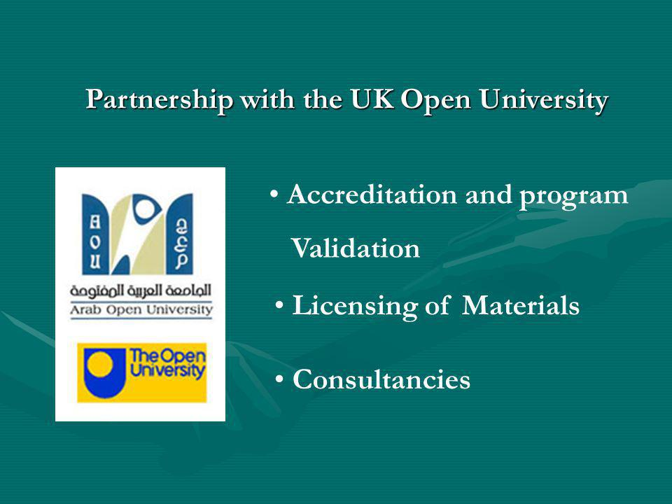 Licensing of Materials Consultancies Accreditation and program Validation Partnership with the UK Open University