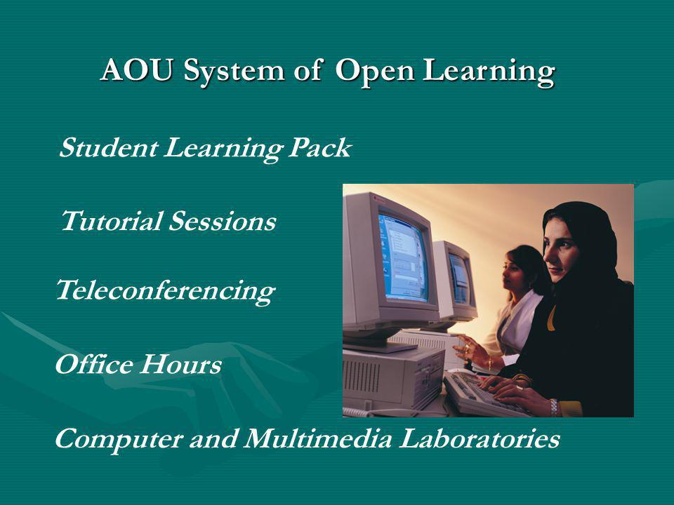 Student Learning Pack Tutorial Sessions Teleconferencing Office Hours Computer and Multimedia Laboratories AOU System of Open Learning