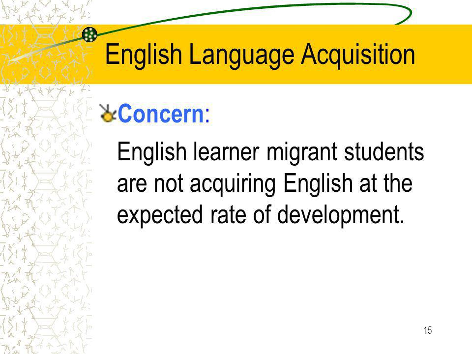 15 English Language Acquisition Concern : English learner migrant students are not acquiring English at the expected rate of development.