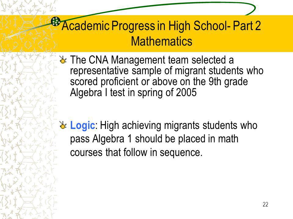 22 Academic Progress in High School- Part 2 Mathematics The CNA Management team selected a representative sample of migrant students who scored proficient or above on the 9th grade Algebra I test in spring of 2005 Logic : High achieving migrants students who pass Algebra 1 should be placed in math courses that follow in sequence.