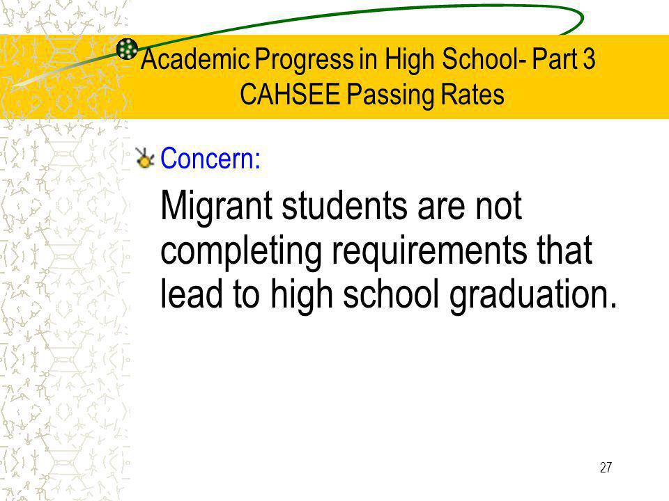 27 Academic Progress in High School- Part 3 CAHSEE Passing Rates Concern: Migrant students are not completing requirements that lead to high school graduation.