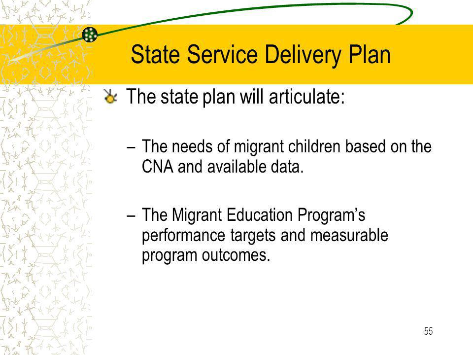 55 State Service Delivery Plan The state plan will articulate: –The needs of migrant children based on the CNA and available data.