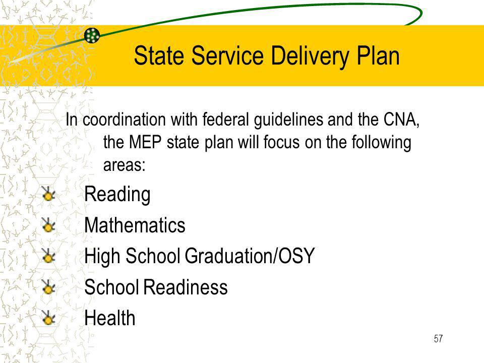57 State Service Delivery Plan In coordination with federal guidelines and the CNA, the MEP state plan will focus on the following areas: Reading Mathematics High School Graduation/OSY School Readiness Health
