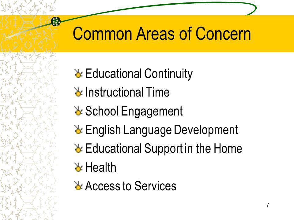 7 Common Areas of Concern Educational Continuity Instructional Time School Engagement English Language Development Educational Support in the Home Health Access to Services