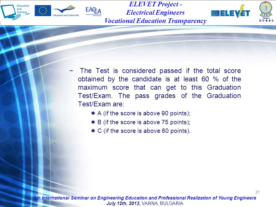 21 The Test is considered passed if the total score obtained by the candidate is at least 60 % of the maximum score that can get to this Graduation Test/Exam.