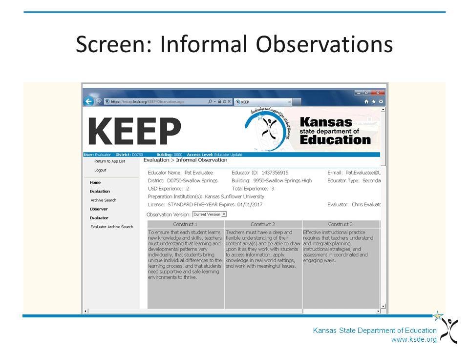 Kansas State Department of Education www.ksde.org Screen: Informal Observations