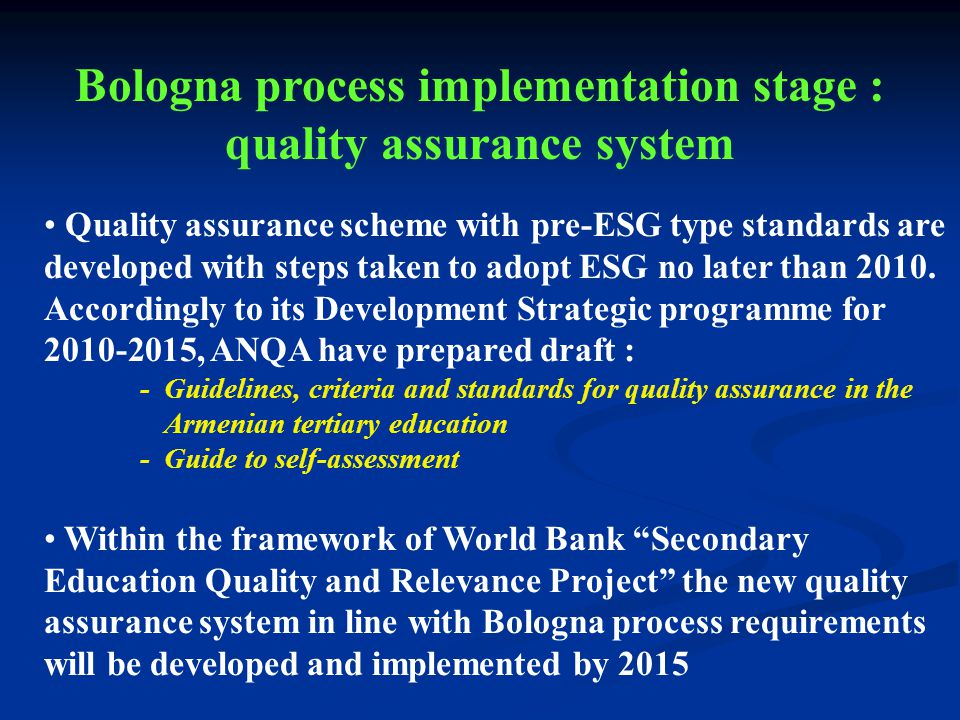 Quality assurance scheme with pre-ESG type standards are developed with steps taken to adopt ESG no later than 2010.