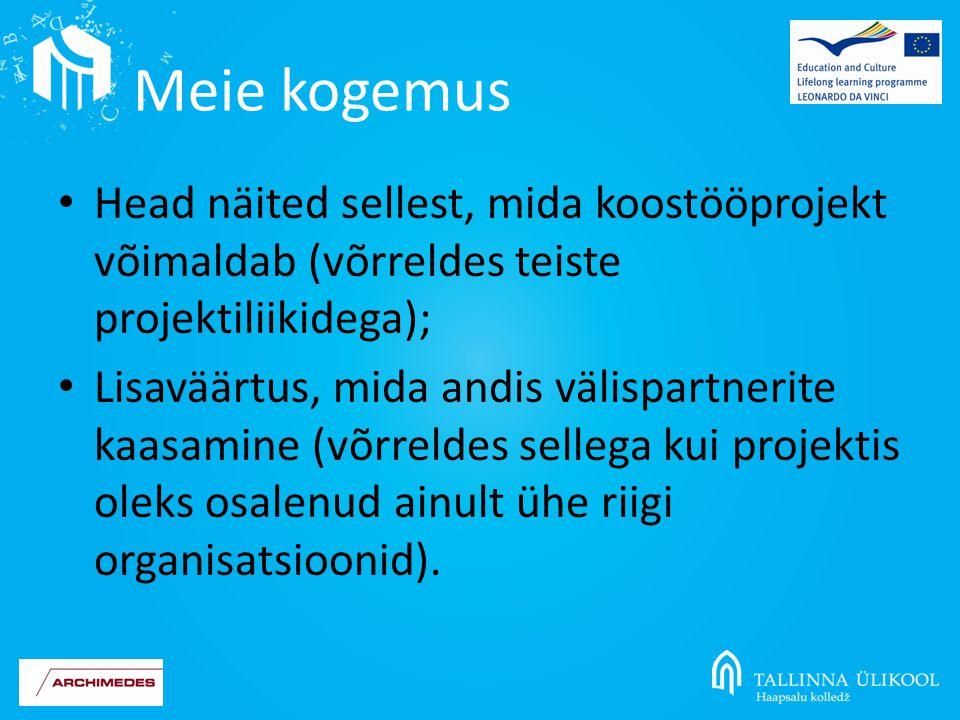 Head näited sellest, mida koostööprojekt võimaldab (võrreldes teiste projektiliikidega); Lisaväärtus, mida andis välispartnerite kaasamine (võrreldes