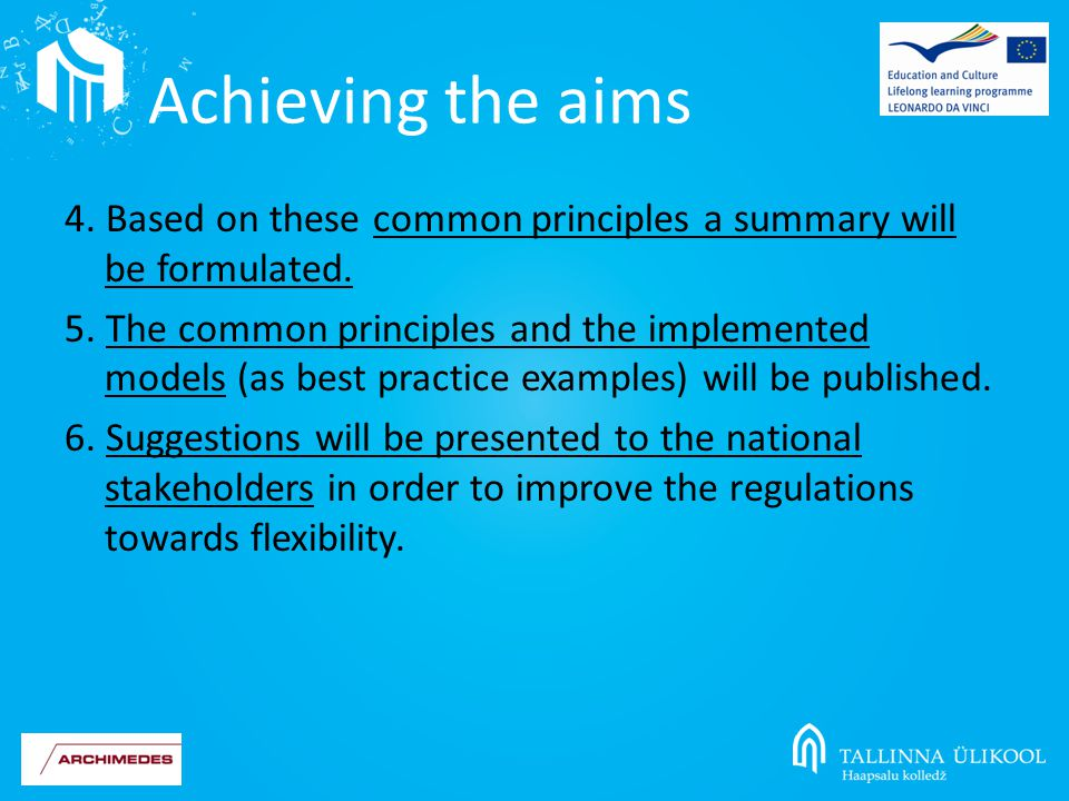 4. Based on these common principles a summary will be formulated.