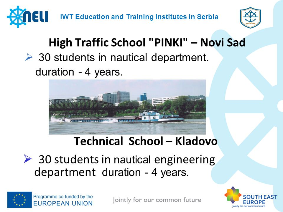 IWT Education and Training Institutes in Serbia High Traffic School PINKI – Novi Sad 30 students in nautical department.